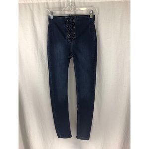 FREE PEOPLE Indigo Lace Denim High Rise Jeans